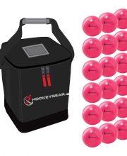 18 zaalhockeyballen roze incl. Hockeygear.eu tas zwart