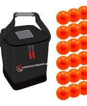 18 zaalhockeyballen oranje incl. Hockeygear.eu tas zwart
