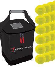 24 dimple wedstrijdballen geel incl. Hockeygear.eu tas zwart