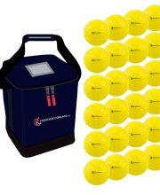 24 dimple wedstrijdballen geel incl. Hockeygear.eu tas navy