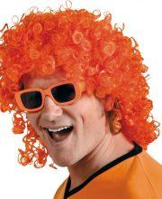 Pruik matje krulletjes oranje