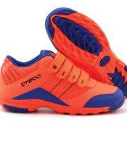 Brabo Velcro Oranje/Blauw JR hockeyschoenen met klittenbandsluiting