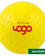 Uw logo op 240 wedstrijd hockeybal dimple geel