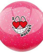 Hockeygear.eu hockeybal Emoticon | glitter roze I love hockey