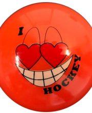 Hockeybal Emoticon / Smiley | Orange I love Hockey