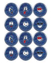 Hockeygear.eu dozijn hockeybal Emoticon / smiley glitter blauw