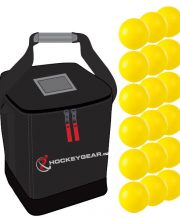 18 zaalhockeyballen geel incl. Hockeygear.eu tas zwart